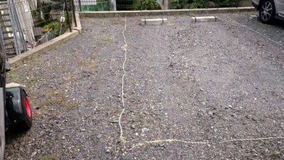 駐車場 トラロープ 施工前