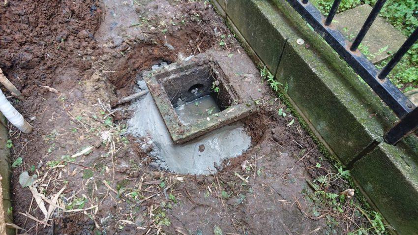 排水桝 コンクリ埋め